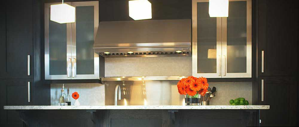 transitional black kitchen