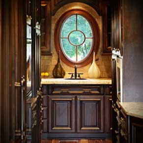 wet bar wood cabinets oval window