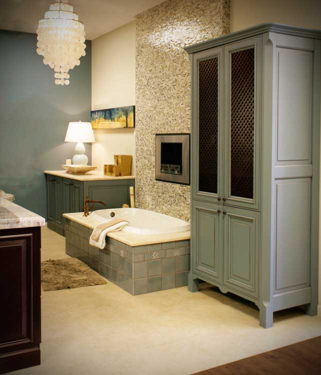 sophisticated blue gray bathroom